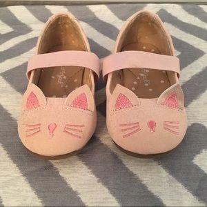 Girls size 6 Cat & Jack pink kitten slide shoes